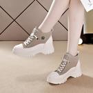 靴子 短靴 內增高女鞋8厘米2021秋冬馬丁靴女新爆款韓版百搭厚底坡跟運動鞋