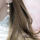 耳環 現貨 韓國氣質甜美小香風棉花糖珍珠星星曲線長耳環 夾式耳環 S91449  Danica 韓系飾品