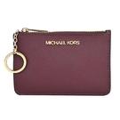 【南紡購物中心】MICHAEL KORS JET SET素面卡片夾層鑰匙零錢包-酒紅