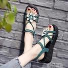 涼鞋女士2021年夏季新款坡跟百搭仙女風旗袍高跟花朵平底鞋ins潮 依凡卡時尚