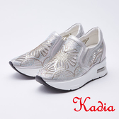kadia.雕花亮麗水鑽高休閒鞋(9910-88銀白色)