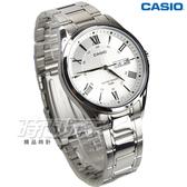 CASIO卡西歐 MTP-1384D-7A 世界城市新風範指針男錶 白x銀 日期/星期顯示 防水手錶 MTP-1384D-7AVDF
