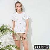 【JEEP】女裝 仙人掌造型印花短袖TEE-白