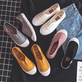 小白鞋女帆布鞋韓版百搭學生春季平底懶人鞋一腳蹬布鞋夏