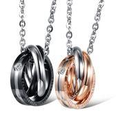 鈦鋼項鍊鑲鑽(一對)-唯一的愛生日母親節禮物情侶對鍊2色73cl6[時尚巴黎]