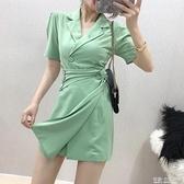 夏新款不規則小眾設計感西裝裙女翻領收腰修身顯瘦氣質洋裝 有緣生活館