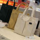 便當包 帆布日式便當包學生飯盒袋包防水帶飯的手提袋手拎包清新簡約書袋 3C優購