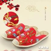 布鞋女拖鞋 民族風繡花鞋 亞麻外穿包頭涼拖鞋 中國風涼拖‧衣雅