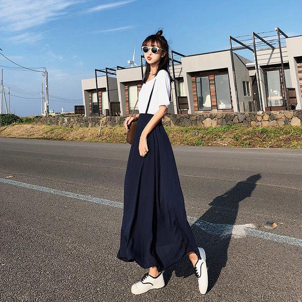 VK旗艦店 韓國風時尚氣質簡約T恤吊帶套裝短袖裙裝