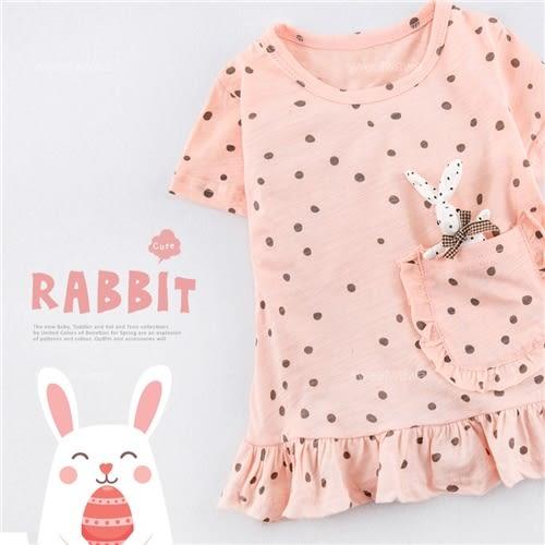 兔兔口袋水玉點點薄棉短版上衣(250487)★水娃娃時尚童裝★