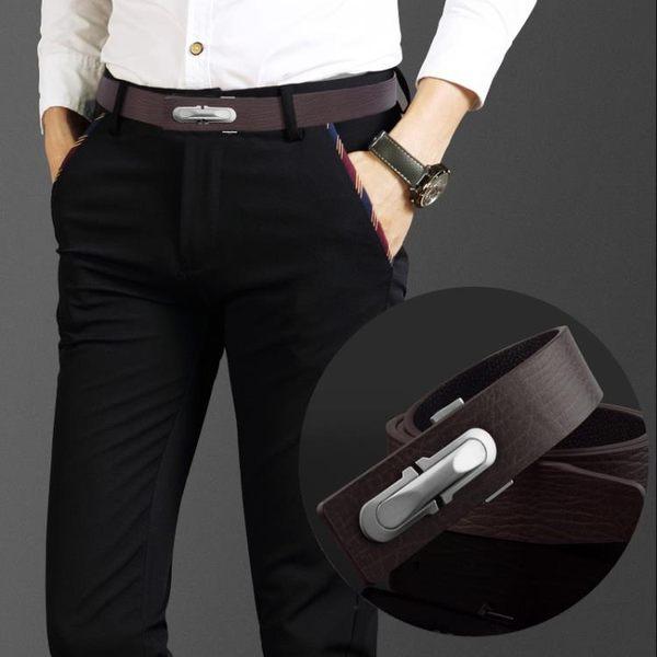 休閑簡約牛皮腰帶男潮流青年褲帶平滑扣純皮GZX-20