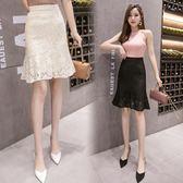 (工廠直銷不退換)9203蕾絲半身裙春夏新款百搭中長款高腰荷葉邊包臀魚尾裙G-620-A韓依戀