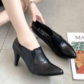 靴子.訂製款.MIT歐美街頭鬆緊帶拼接皮革高跟踝靴.白鳥麗子