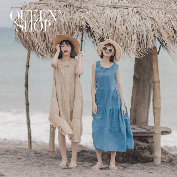 Queen Shop【01084828】基本純色無袖蛋糕長洋裝 三色售*現+預*