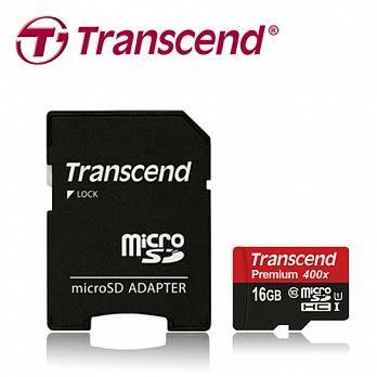 創見microSDHC 16G UHS-1 Class10 記憶卡 / 讀取60MB/s (含轉卡)