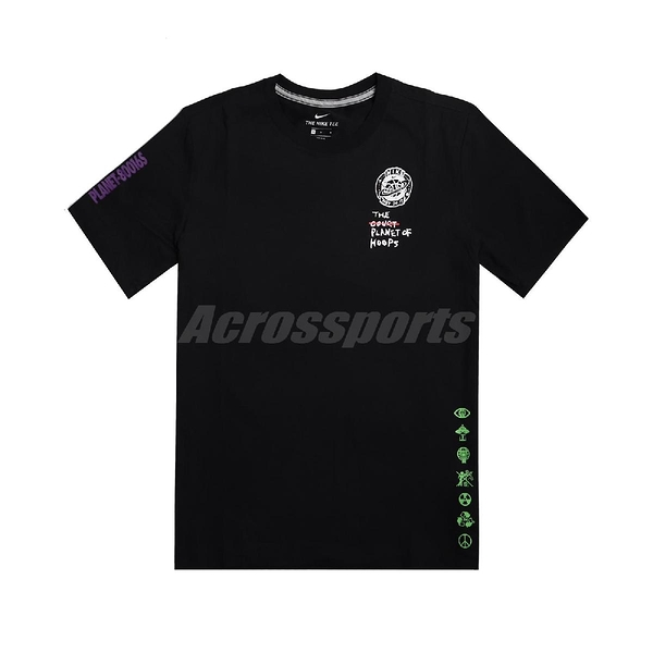 Nike 短袖T恤 Summer Hoops Top 黑 白 男款 籃球星球 夜光 運動休閒 【ACS】 CW4817-010