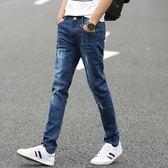 牛仔褲夏季薄款彈力男士牛仔褲男黑色休閒青少年小腳褲子男正韓潮流