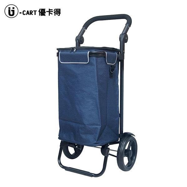 【南紡購物中心】【可調式握把摺疊購物車 藍】附冷藏袋 買菜車 手推車 菜籃車