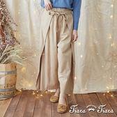 【Tiara Tiara】激安 特色綁帶長褲裙(灰/駝)