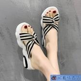 蝴蝶結拖鞋夏季外穿仙女風鬆糕厚底沙灘鞋女海邊涼拖鞋女2020新款 3C數位百貨