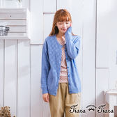【Tiara Tiara】激安 格紋排釦縮口長袖罩衫外套(藍/黃)