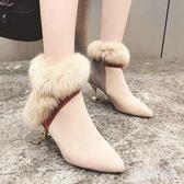 中大尺碼高跟短靴 細跟毛毛及裸靴女冬季新款尖頭中跟時尚氣質女高跟鞋 AW15215『愛尚生活館』