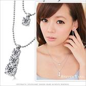 項鍊 正白K飾「氣質日系美鑽」銀色款 雙鍊設計 甜美必敗