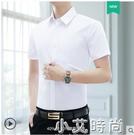 商務職業正裝短袖白襯衫男士休閒長袖襯衣高級感免燙抗皺高端黑色 小艾新品