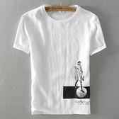 亞麻T恤-人物印花棉麻白色短袖男上衣73xf16[巴黎精品]