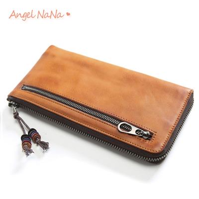 真皮長夾-原創復古手工男女中性軟皮頭層牛皮夾手拿包 (SMA0269)AngelNaNa