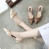 春夏新款細跟尖頭鏤空單鞋時尚百搭小跟涼鞋工作鞋中跟女鞋潮  卡布奇諾