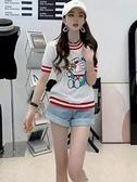 夏韓版甜美減齡叮當貓機器貓刺繡短袖冰絲針織T恤女舒適上衣N2F-A10-A胖妞衣櫥