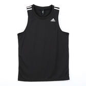 Adidas D2M 3S 男 黑 白 運動透氣背心 排汗 三條線 無袖 背心 上衣 TANK t恤 climalite科技 BK3549