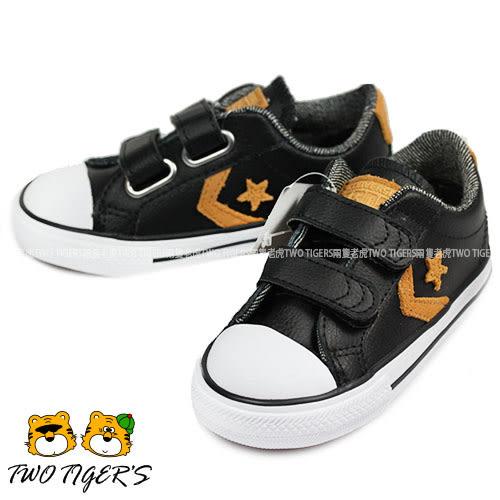 CONVERSE ALL STAR 黑色 皮革 兩段魔鬼氈 帆布鞋 小童鞋 NO.R0791