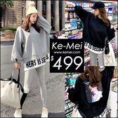 克妹Ke-Mei【ZT49514】STYLE定制!重磅款假二字母圖印刷毛T恤上衣