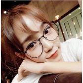 正韓 眼鏡~圓弧方框側邊金屬平光眼鏡 鏡框眼鏡72