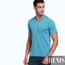 HENIS 時尚型男花紗吸汗速乾短袖衫1件組 隨機取色