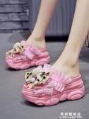 厚底女拖鞋夏季外穿2020新款網紅厚底楔形內增高蝴蝶結鬆糕涼拖爆款潮 果果新品