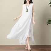 中大尺碼 無袖洋裝 文藝范2021夏季新款胖妹妹無袖寬鬆顯瘦純色中長款連身裙大碼女裝