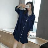 性感冰絲睡衣女夏短袖真絲綢睡裙寬鬆大碼可外穿家居服 QQ1767『MG大尺碼』