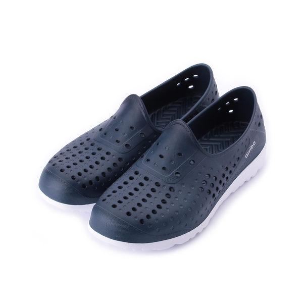 ARRIBA 輕量防水洞洞鞋 藍白 62-473 男鞋 鞋全家福