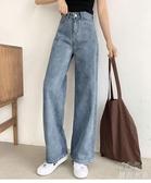 牛仔直筒褲-高腰拖地牛仔褲女春夏新款寬鬆闊腿垂感直筒 花樣年華