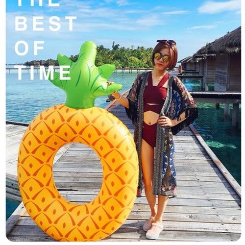梨卡★現貨 -夏日沙灘泳池玩水必備水果系列鳳梨造型特色充氣鳳梨游泳圈M088