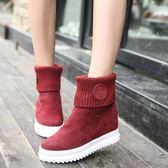 韓版女低筒棉靴短靴內增高