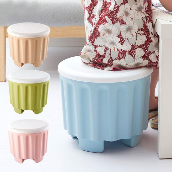 可疊加收納儲物凳 椅子 置物 換鞋 玩具 居家 雜物 分類 盒蓋 凹凸 條紋【A029】MY COLOR