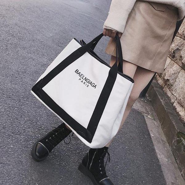 女包歐美時尚帆布包潮字母單肩包大容量斜背手提包