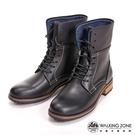 【南紡購物中心】【WALKING ZONE】帥氣俐落8孔造型休閒中筒 女靴-黑(另有咖)