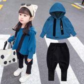 女寶寶秋裝套裝潮3女童洋氣兩件套4歲小童連帽T恤兒童2時髦衣服春秋1 新年免運特惠