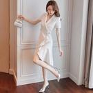 西裝裙 職業西裝洋裝女裝夏季收腰修身顯瘦氣質不規則裙子春-Ballet朵朵