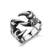 【5折超值價】【316L西德鈦鋼】最新款經典個性龍爪造型男款鈦鋼戒指